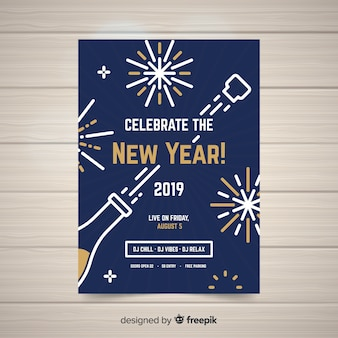 Cartaz de festa moderna mão desenhada ano novo