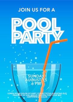 Cartaz de festa na piscina com ilustração de coquetel design de modelo
