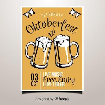Cartaz de festa oktoberfest linda mão desenhada