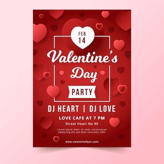 Cartaz de festa plana dia dos namorados