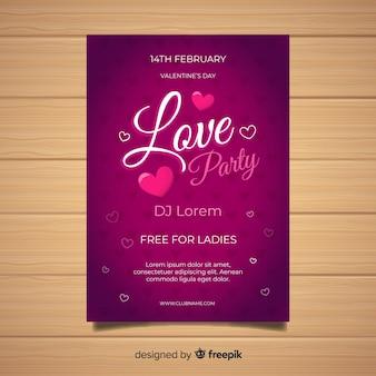 Cartaz de festa plana dos namorados