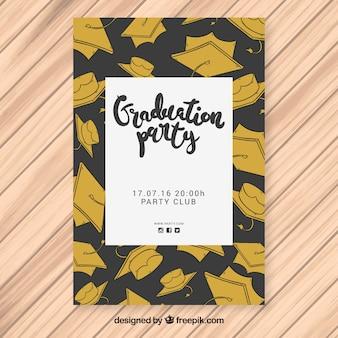 Cartaz de festa preto e dourado com bonés de graduação desenhados à mão