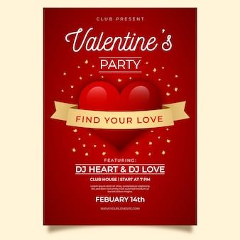 Cartaz de festa realista dia dos namorados