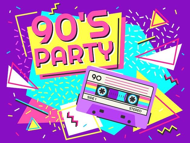 Cartaz de festa retrô. música dos anos noventa, banner de fita cassete vintage e ilustração de fundo de estilo