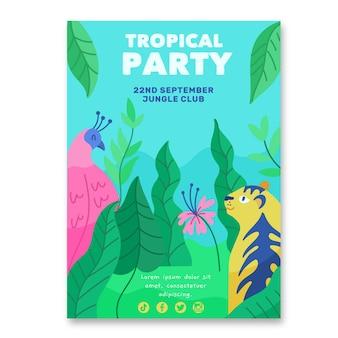 Cartaz de festa tropical com animais