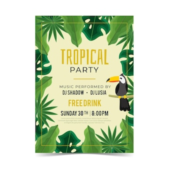 Cartaz de festa tropical com animais
