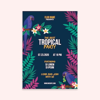 Cartaz de festa tropical com design de animais