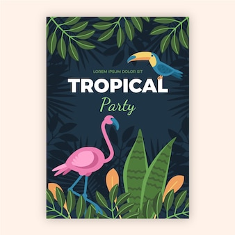 Cartaz de festa tropical com estilo de animais