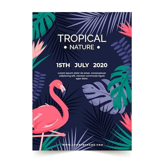 Cartaz de festa tropical com flamingo