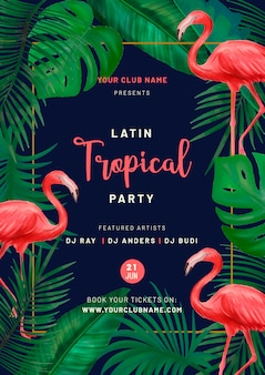 Cartaz de festa tropical com flamingos cor de rosa