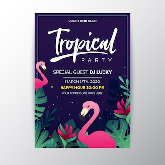 Cartaz de festa tropical com folhas e flamingo