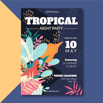Cartaz de festa tropical com modelo de animais