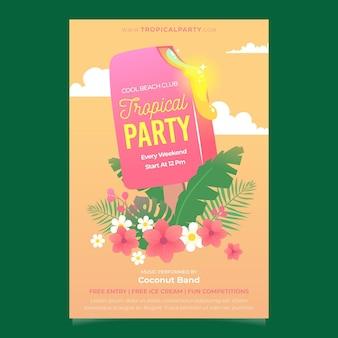 Cartaz de festa tropical com picolé