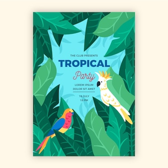 Cartaz de festa tropical com tema de animais