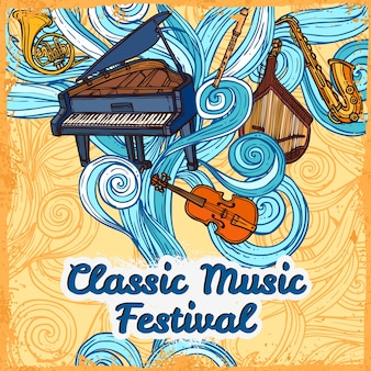Cartaz de festival de música clássica com instrumento de trompete de violão de piano ilustração vetorial