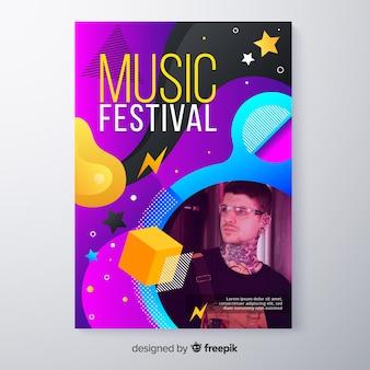 Cartaz de festival de música colorido abstrato com foto