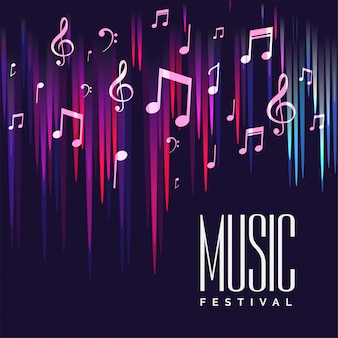 Cartaz de festival de música com notas coloridas