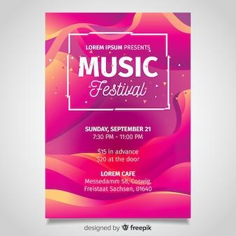Cartaz de festival de música de efeito líquido