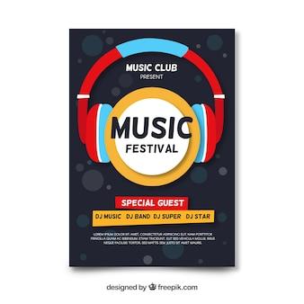 Cartaz de festival de música de fones de ouvido plana
