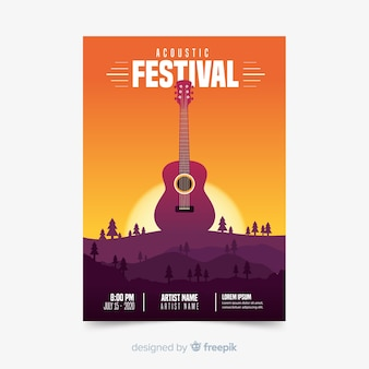 Cartaz de festival de música de ilustração de gradiente