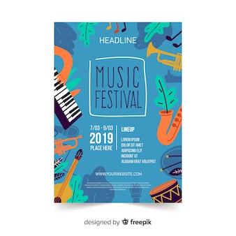 Cartaz de festival de música de instrumentos de mão desenhada