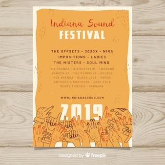 Cartaz de festival de música de mãos