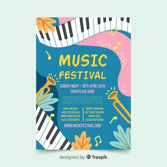 Cartaz de festival de música de piano ondulado