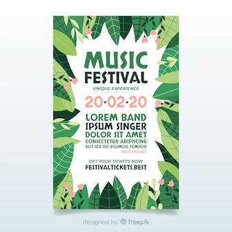 Cartaz de festival de música de quadro de folhas