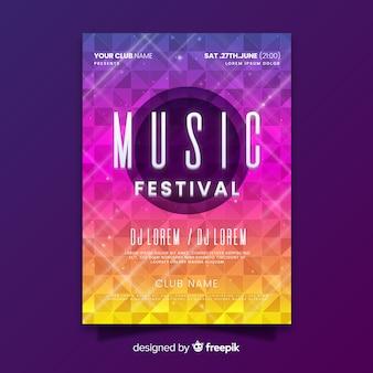 Cartaz de festival de música de verão gradiente