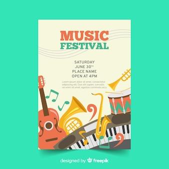 Cartaz de festival de música desenhada de mão