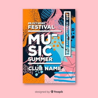 Cartaz de festival de música desenhada mão abstrata