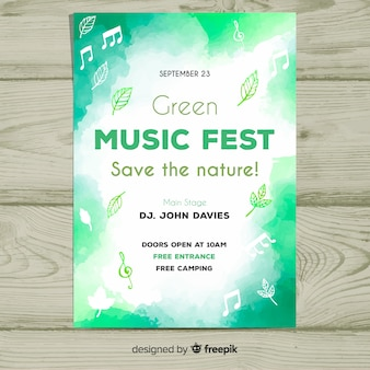 Cartaz de festival de música em aquarela