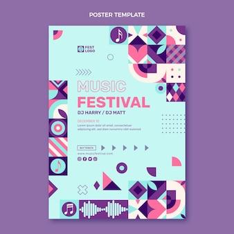 Cartaz de festival de música em mosaico de design plano