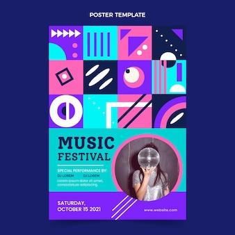 Cartaz de festival de música em mosaico plano