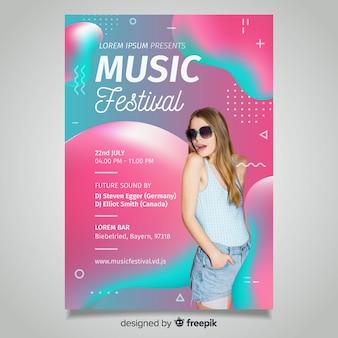 Cartaz de festival de música fluida duotone