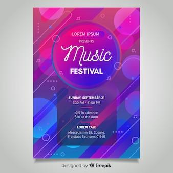 Cartaz de festival de música gradiente abstrata