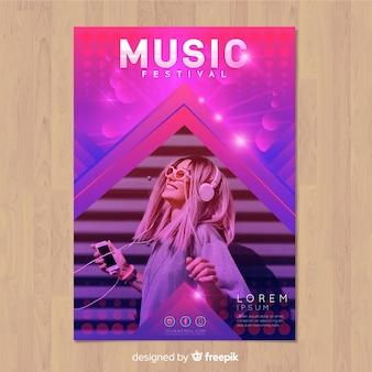 Cartaz de festival de música gradiente colorido com imagem