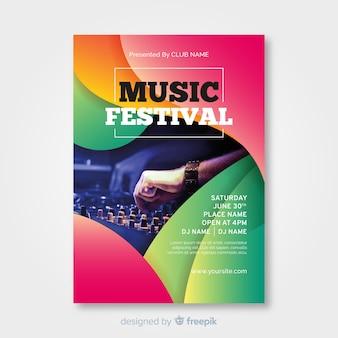 Cartaz de festival de música gradiente colorido