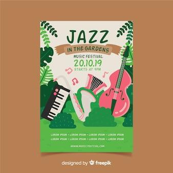 Cartaz de festival de música jardim mão desenhada