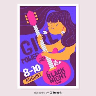 Cartaz de festival de música menina guitarrista mão desenhada