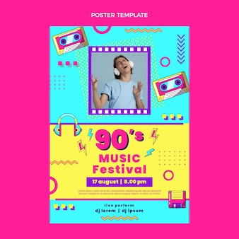 Cartaz de festival de música nostálgico em design plano