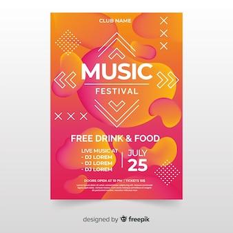 Cartaz de festival de música ou modelo de panfleto no design moderno abstrato