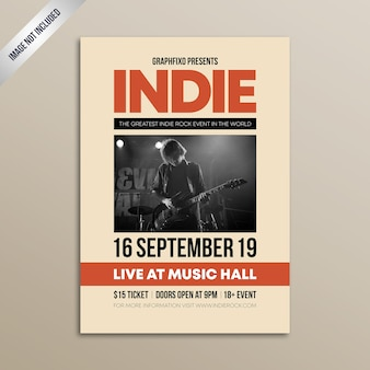Cartaz de festival de música rock indie