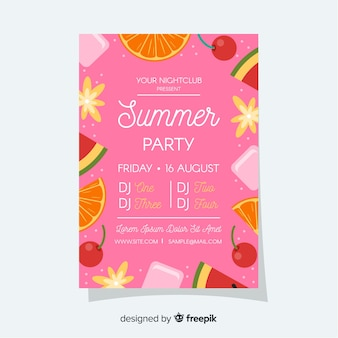 Cartaz de festival de verão de quadro de frutas