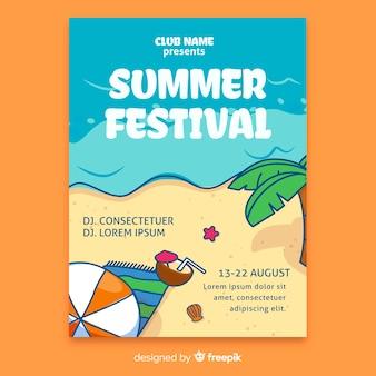 Cartaz de festival de verão desenhada de mão