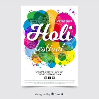 Cartaz de festival holi de pontos coloridos