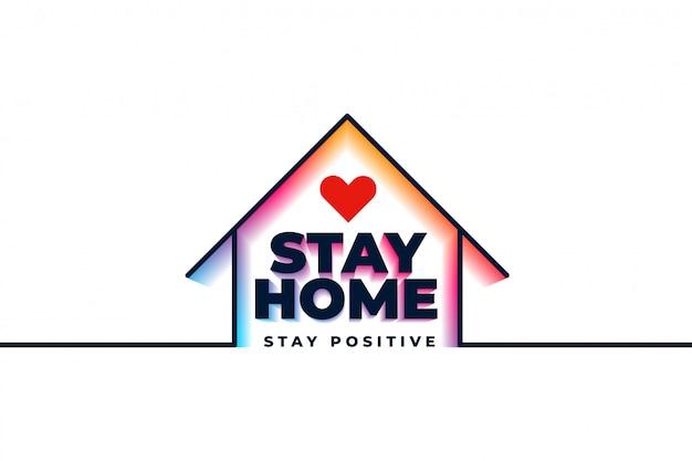 Cartaz de ficar em quarentena em casa com casa e coração