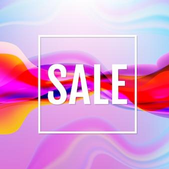 Cartaz de fluxo colorido com cartaz de venda de linha