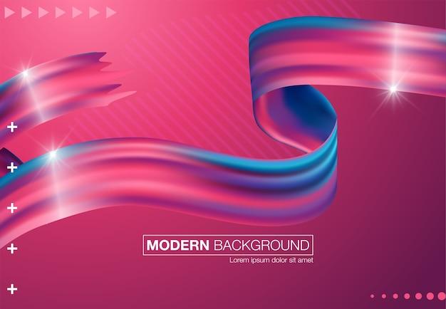 Cartaz de fluxo colorido moderno. forma líquida de onda no fundo de cor azul