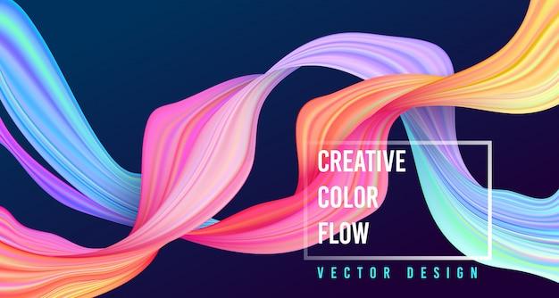 Cartaz de fluxo colorido moderno. onda forma líquida sobre fundo de cor azul escuro.